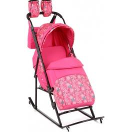 Санки-коляска Kristy Comfort Plus Снежинки, розовый